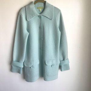 Sigrid Olsen Sweaters - Sigrid Olsen Light Green Sweater Jacket Pockets